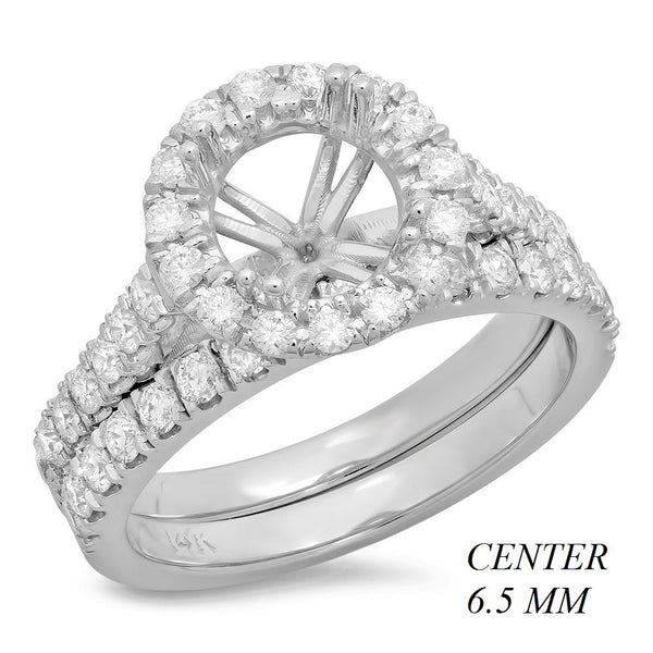 PMI 14W@5.8 45RD1@0.90 SET 6.5MM ROUND CATHEDRAL HALO WEDDING SET