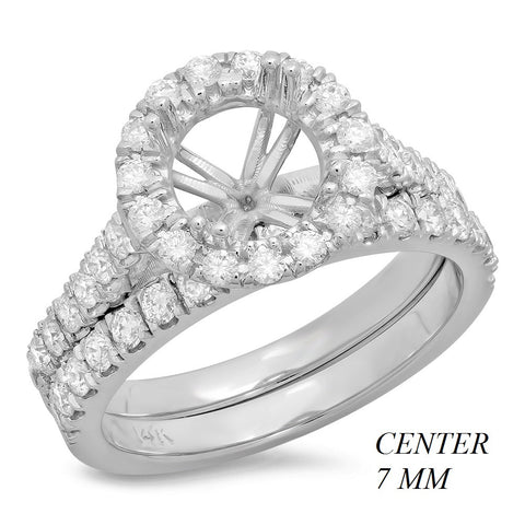 PMI 14W@6.0 46RD1@0.86 SET ROUND 7MM CATHEDRAL HALO WEDDING SET
