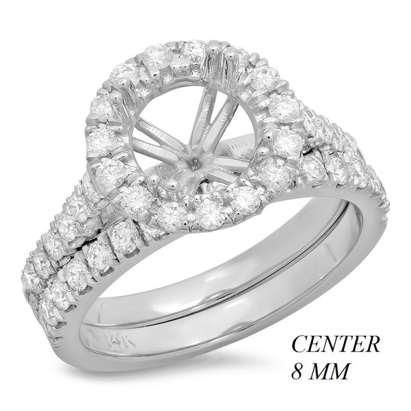 PMI 14W@5.9 47RD1@0.99 8MM ROUND CATHEDRAL HALO WEDDING SET