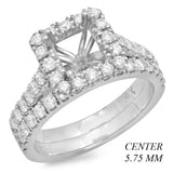 PMI 14W@6.1 47RD1+@0.96 5.75MM PRINCESS CATHEDRAL HALO WEDDING SET