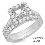 PMI 14W@5.9 47RD1+@0.99 PRINCESS 6MM CATHEDRAL WEDDING SET