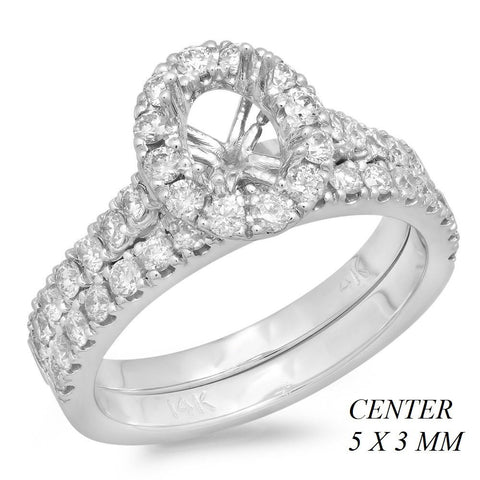PMI 14W@5.2 42RD2@0.94 5X3MM OVAL HALO CATHEDRAL WEDDING SET