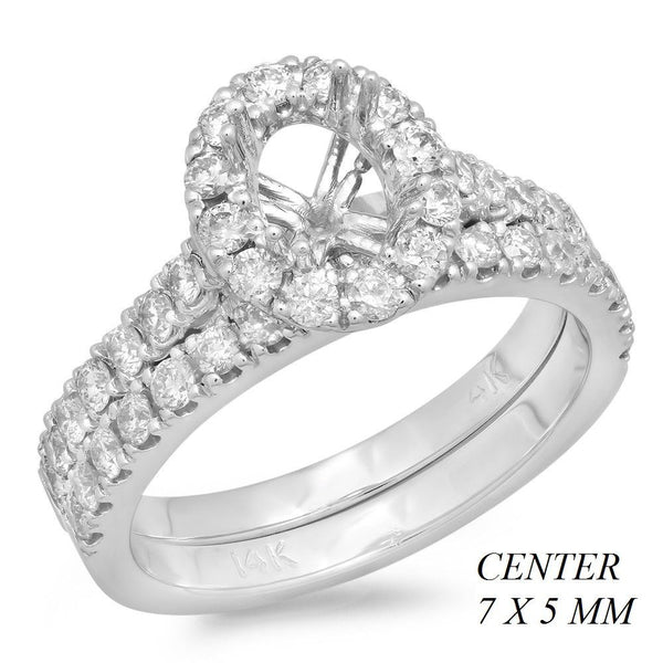 PMI 14W@5.5 43RD1@0.94 7X5MM OVAL HALO CATHEDRAL WEDDING SET