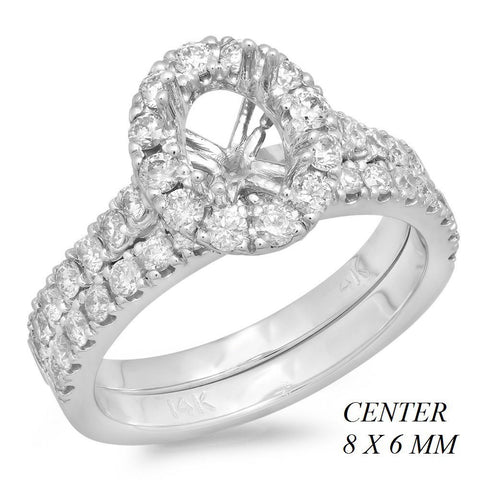PMI 14W@5.5 45RD2@0.96 8X6MM OVAL HALO CATHEDRA WEDDING SET