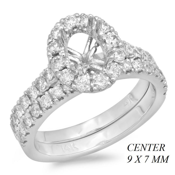 PMI 14W@5.8 47RD2@1.01 9X7MM OVAL HALO CATHEDRALWEDDING SET