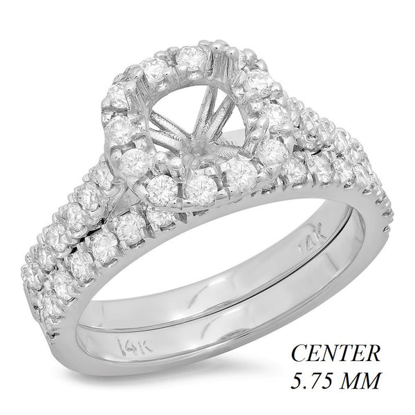 PMI 14W@5.6 43RD1+@0.87 5.75MM CUSHION HALO CATHEDRAL WEDDING SET