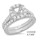 PMI 14W@5.8 43RD1+@0.87 6.5MM CUSHION HALO WEDDING SET