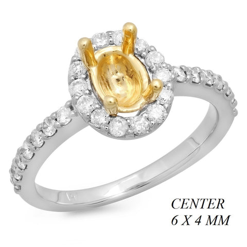 PMI 14YW@3.1 30RD2@0.45 6X4MM OVAL TWO TONE HALO LOW PROFILE