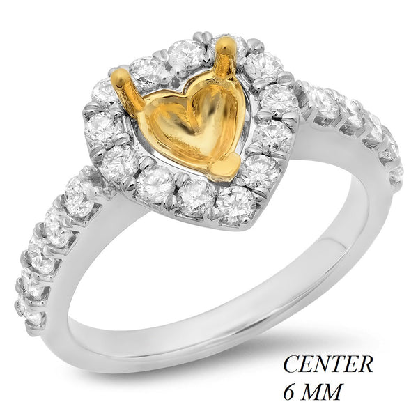 PMI 14YW@5.2 23RD1@1.01 HEART 6MM TWO TONE HALO LOW PROFILE