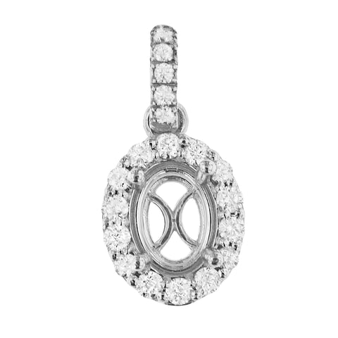 PMI 14W@1.5 19RD2@0.36 8X6MM OVAL HALO PENDANT