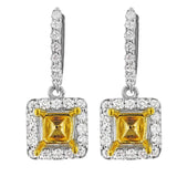 PMI 14YW@5.0 48RD2@1.10 6X6MM TWO TONE PRINCESS DANGLING EARRINGS