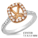 PMI 14YW@4.1 34RD1@0.47 7.5X5.5MM TWO-TONE CUSHION HALO