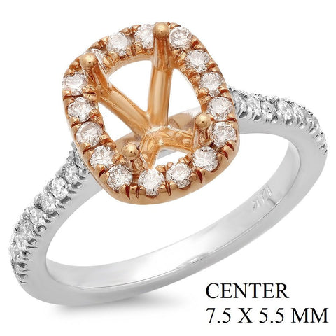 PMI 14PW@4.1 34RD1@0.47 7.5X5.5MM TWO-TONE CUSHION HALO