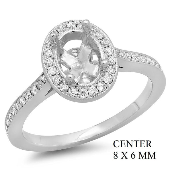 PMI 14W@3.90 PAVE' SET 47RD1@0.29 8X6MM OVAL HALO