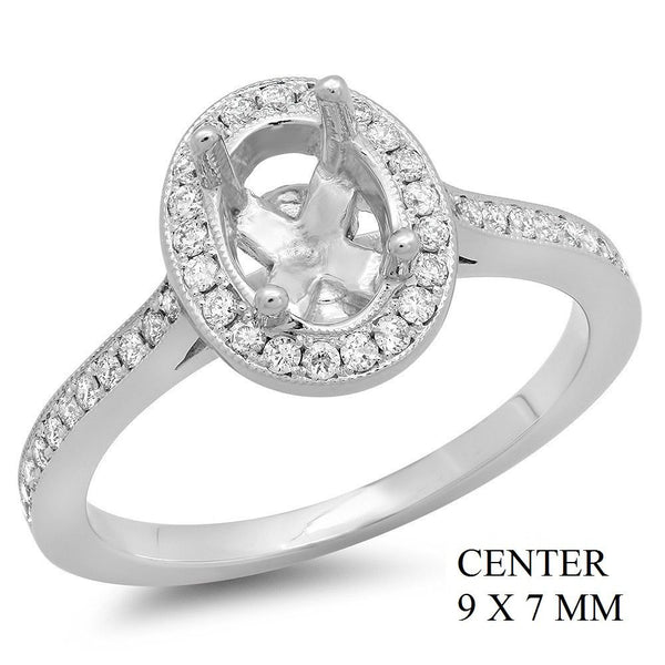 PMI 14W@3.90 PAVE' SET 49RD1@0.29 9X7MM OVAL HALO