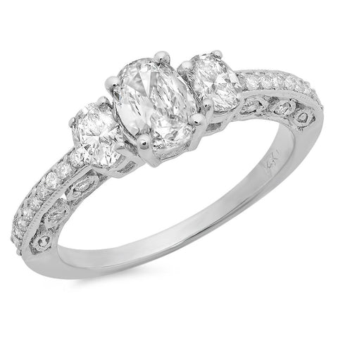 PMI 14W@2.3 26RD@0.16 1OV@0.46 2OV@0.37 THREE STONE DIAMOND OVAL RING