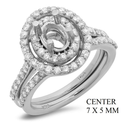 PMI 14W@7.5 75RD1@1.03 SET 7X5MM OVAL DOUBLE HALO WEDDING SET