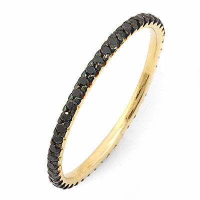 PMI 14Y@1.1 47BRD@0.33 SIZE6 THIN BLACK DIAMOND ETERNITY RING