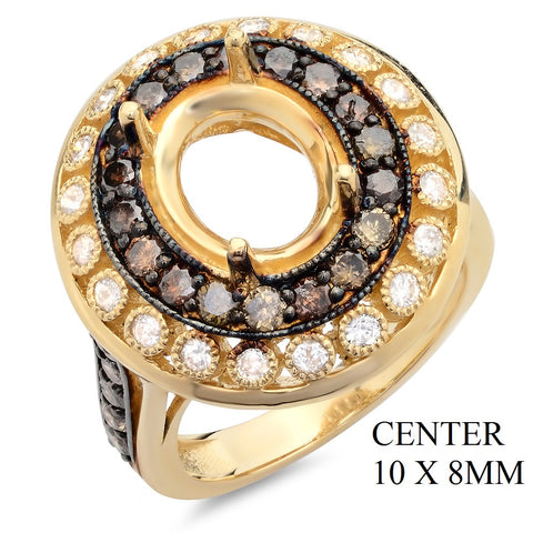 PMI 14Y@9.70 28BRD@1.09 20RD@0.44 (10.0X8.0) OVAL BROWN AND AND WHITE DIAMONDS