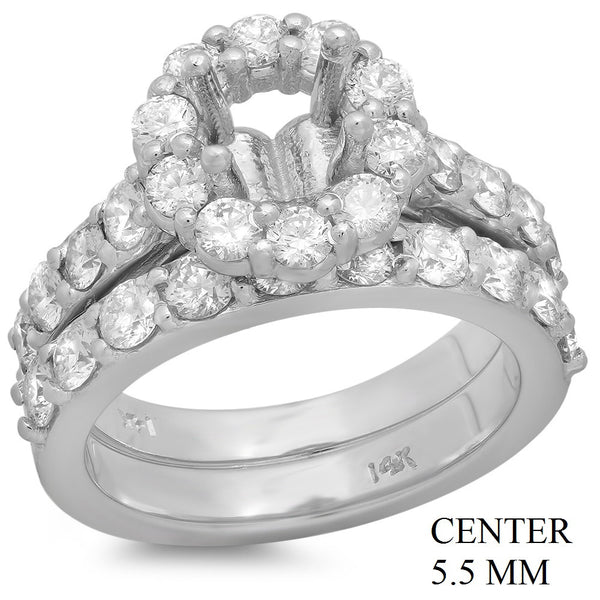 PMI 14W@9.7 28RD1@1.96 5.5MM ROUND HALO WEDDING SET