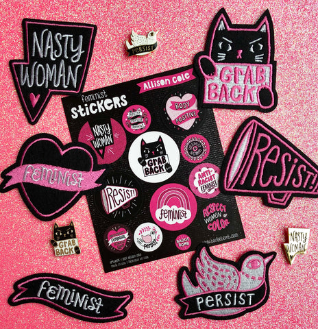Feminist Collection by Allison Cole on Pink, by Badge Bomb