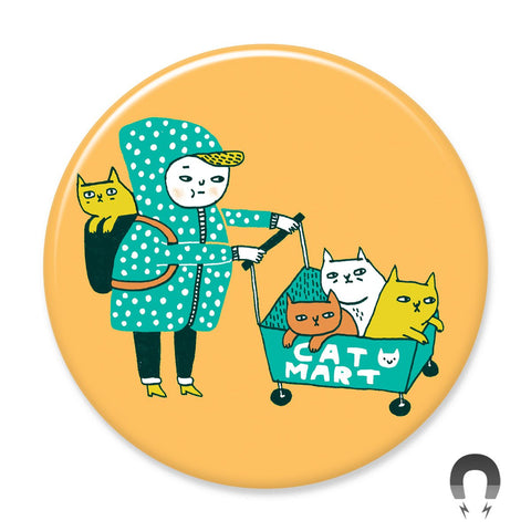 Cat Mart Magnet by Gemma Correll Badge Bomb