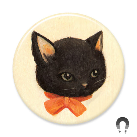 Bow Tie Black Kitty Big Magnet