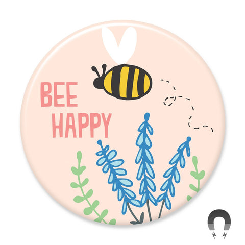 Bee Happy Big Magnet by Seltzer Goods from Badge Bomb