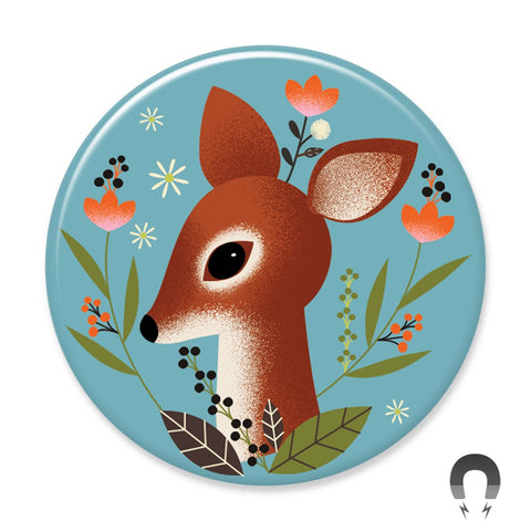 Badge Bomb Deer Fawn Magnet by Daniel Roode