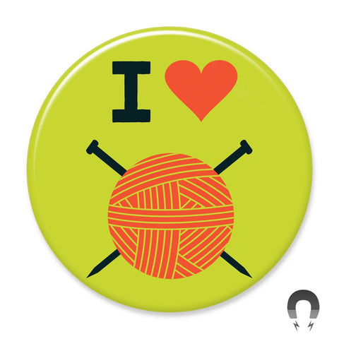 I Heart Knitting Big Magnet by Crossroads Creative