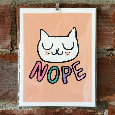 NOPE Cat 8X10 Print by Gemma Correll