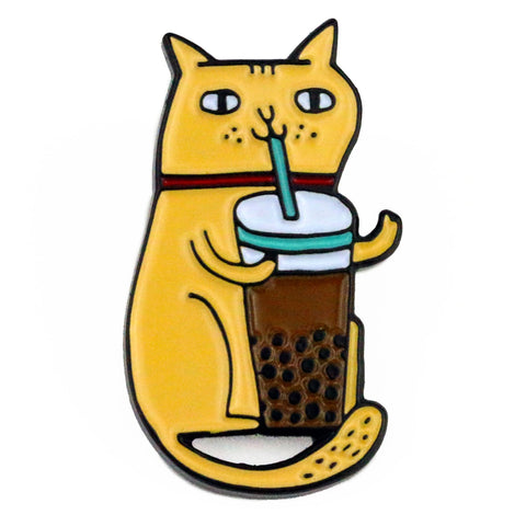 Bubble Tea Cat Enamel Pin
