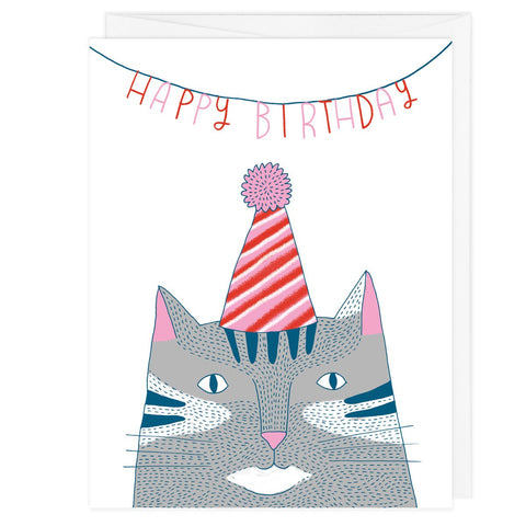 Birthday Hat Cat Grey A2 Card