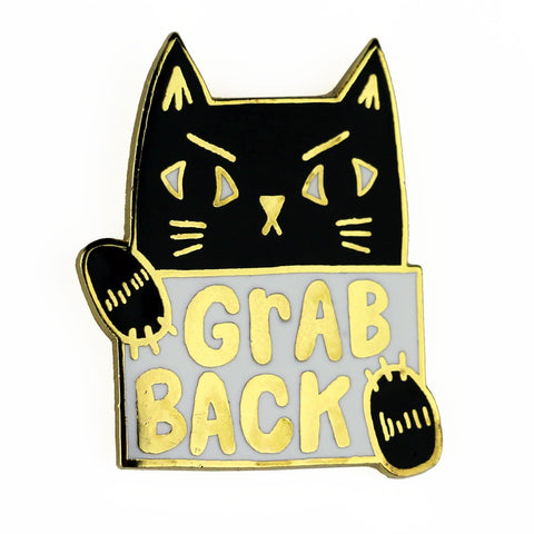 Grab Back Cat Enamel Pin
