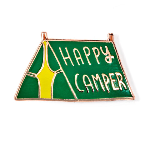 Happy Camper Green Enamel Pin