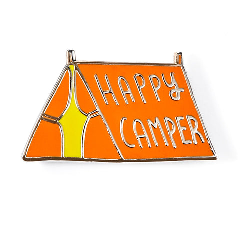 Happy Camper Orange Enamel Pin