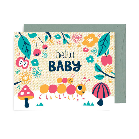 Hello Baby caterpillar A2 Card