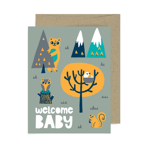 Welcome Baby Trees A2 Card