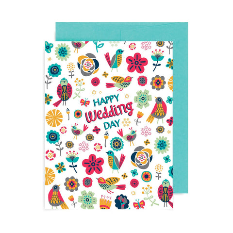 Happy Wedding Day Flowers A2 Card