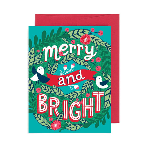 Merry and Bright Wreath A2 Card