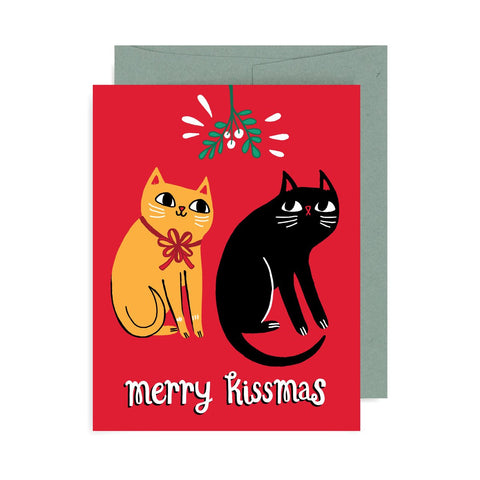 Merry Kissmas Cats A2 Card