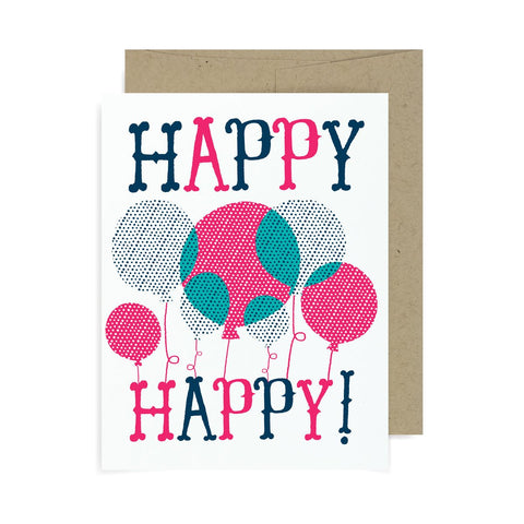Happy Happy Birthday Balloons A2 Card
