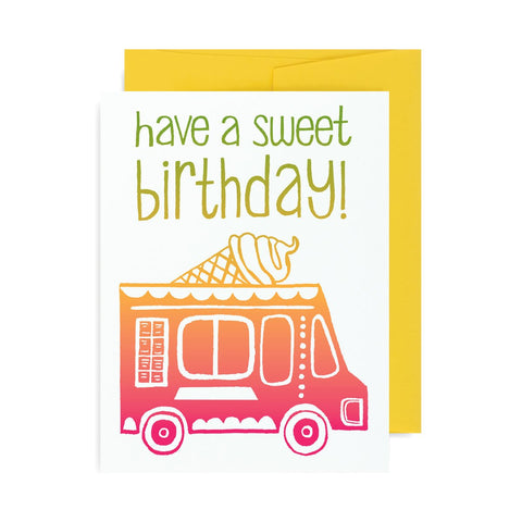 Sweet Ice Cream Birthday Truck A2 Card