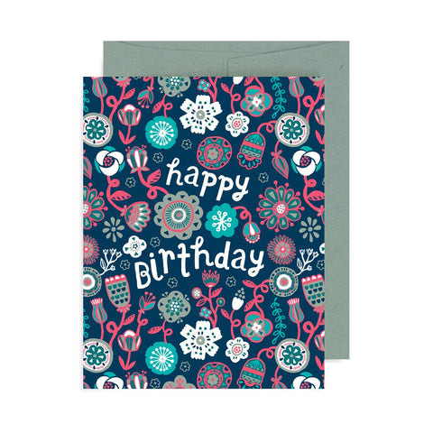 Happy Birthday Floral Pattern A2 Card