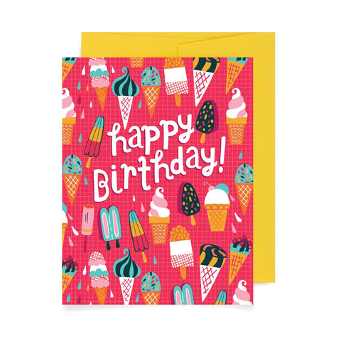 Ice Cream Pattern Birthday A2 Card
