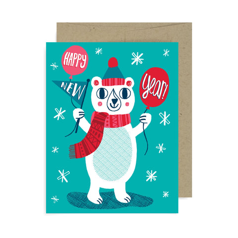 Happy New Year Bear A2 Card