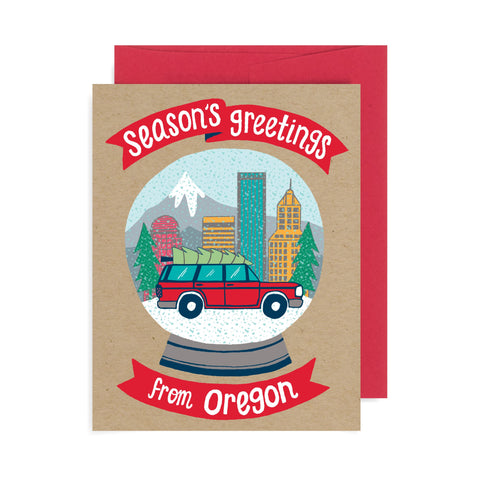 Snow Globe Oregon A2 Card