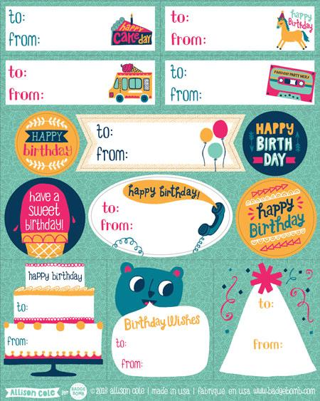 Birthday Gift Label Stickers By Allison Cole Badge Bomb Shop