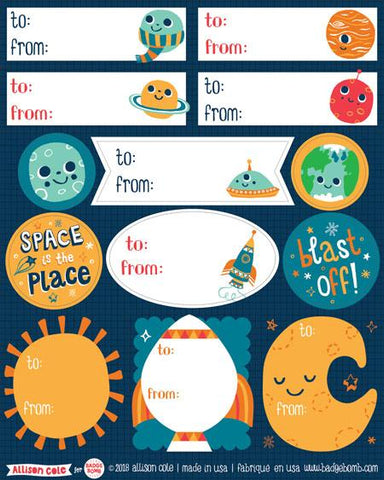 Space Gift Label Stickers