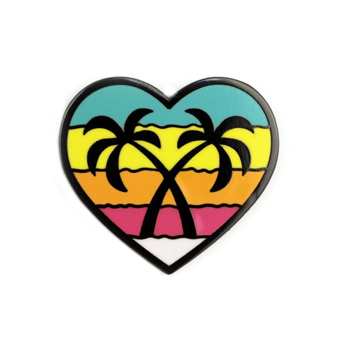 Palm Trees Heart Enamel Pin